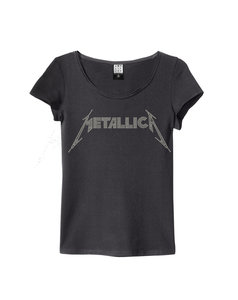 METALLICA LADIES SILVER DIAMANTE LOGO T-SHIRT
