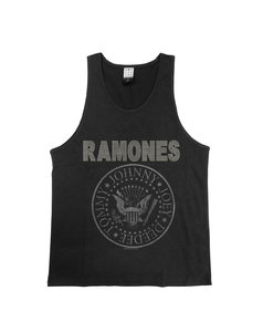 View the RAMONES SILVER DIAMANTE LOGO VEST online at Amplified