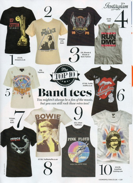 Cosmo Top 10 band Tees - Aug 14
